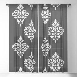 Scroll Damask Art I White on Black Sheer Curtain