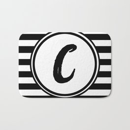 C Striped Monogram Letter Bath Mat