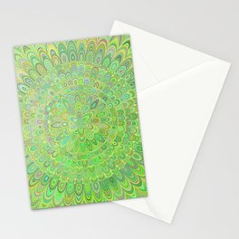Green Floral Feather Mandala Stationery Cards