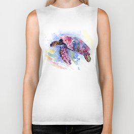 Sea Turtle , purple blue design, swimming sea turtle underwater beach scene Biker Tank