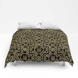 Chinese Pattern Double Happiness Symbol Gold on Black Comforters