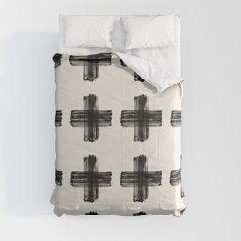 Hand Painted Swiss Cross Pattern - Black on Beige Comforters