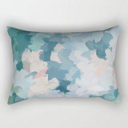 Mint Green Sky Blue Teal Blush Pink Abstract Nature Flower Wall Art, Spring Blossom Painting Rectangular Pillow