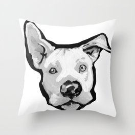 RESCUE ME Pit Bull Pitbull Dog Pop Art black and White Painting by LEA Throw Pillow