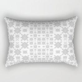 Simple Elegant Black and White Fractal Square Mandala Rectangular Pillow