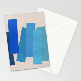 Blue Rectangles Stationery Cards