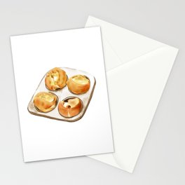 Watercolor Illustration of British dessert - Yorkshire pudding Stationery Cards