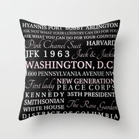 jfk Throw Pillows featuring JFK  by Steph Snyder