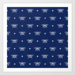Bee Stamped Motif on Navy Blue Art Print