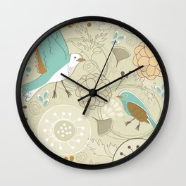 Floral pattern with birds Wall Clock