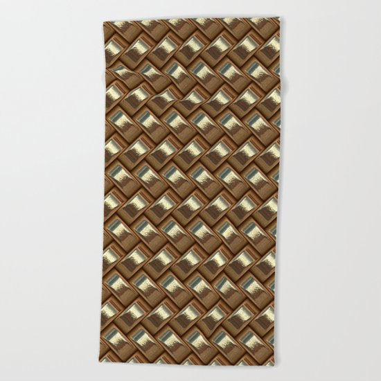 shiny elegant gold weave texture Beach Towel