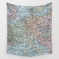 europe Wall Tapestries featuring old map of Europe by inourgardentoo