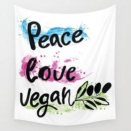 Peace love vegan Wall Tapestry