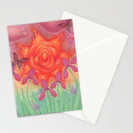 molten sun puce infused afternoon with irises Stationery Cards