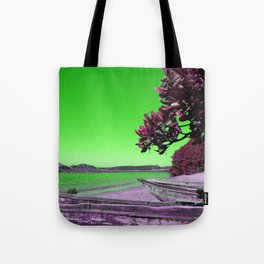 Tropical Beach with Wooden Boats in Green Tote Bag