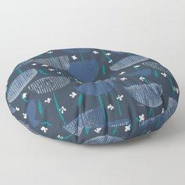 Botanical Block Print M+M Navy by Friztin Floor Pillow