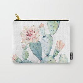 Pastel watercolor prickly pear cactus Carry-All Pouch