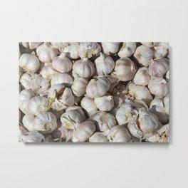 Garlic food pattern Metal Print