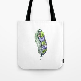 Hand drawn beautyful feather designed as tattoo sketch or design element Tote Bag