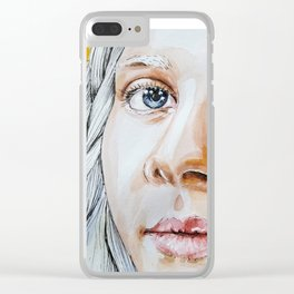 Girl with gray hair Clear iPhone Case