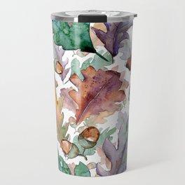 Colorful Watercolor Oak And Acorn Pattern Travel Mug