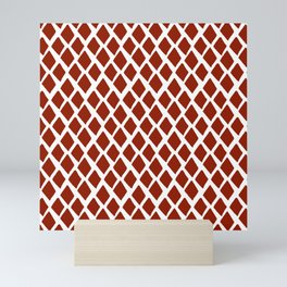 Rhombus Red And White Mini Art Print