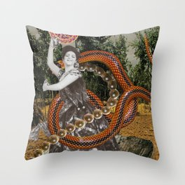 Hulahooping Snake Charmer Throw Pillow