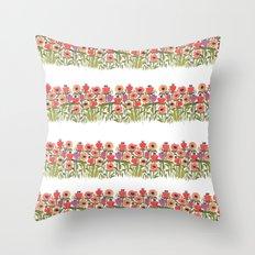 Flower stripe garden Throw Pillow