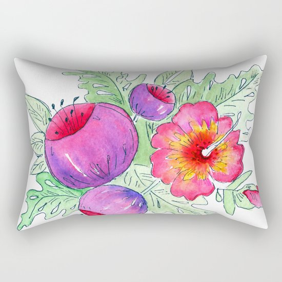 Tropical exotic flowers and leaves 2 . Rectangular Pillow