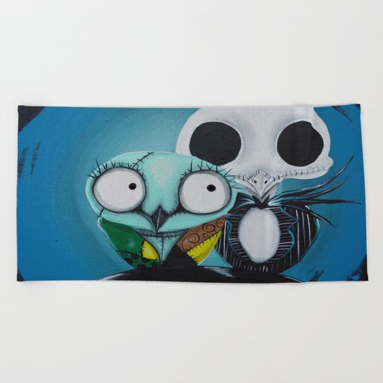 The Owl Jack And Sally Beach Towel