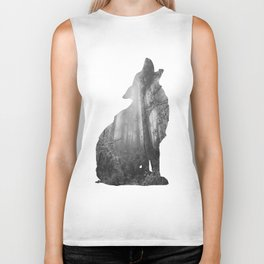 Wolf Silhouette | Forest Photography | Black and White Biker Tank