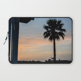 Contrasting photograph of a palm tree at sunset in Menorca Laptop Sleeve