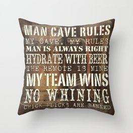 Man Cave Rules Beer Throw Pillow