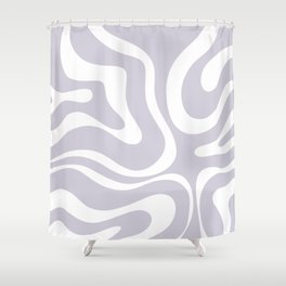 Retro Modern Liquid Swirl Abstract Pattern in Pale Lilac Purple and White Shower Curtain