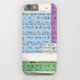 Japan Japanese Periodic Table Of The Elements Vintage Chart Silver iPhone Case