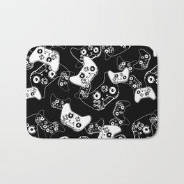 Video Game White on Black Bath Mat