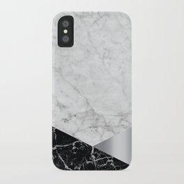 White Marble Black Granite & Silver #230 iPhone Case