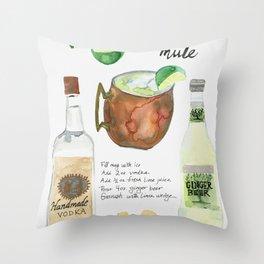 Austin Mule Cocktail Recipe Throw Pillow