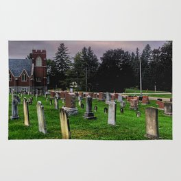 Country Church Cemetery Rug