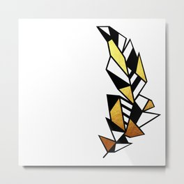 Gold Feather Design Metal Print