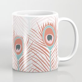 Peacock feathers in living coral and blue colors Coffee Mug