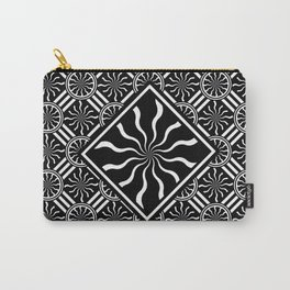 Wavy Black and White Diamond Pinwheels and Stripes 2 Digital Illustration Artwork Carry-All Pouch