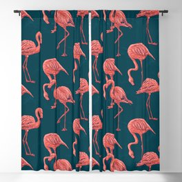 Living coral flamingo pattern Blackout Curtain