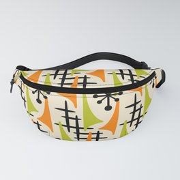 Mid Century Modern Atomic Wing Composition Orange and Chartreuse Fanny Pack