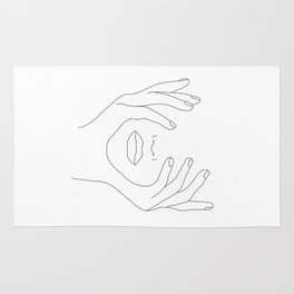 Minimal Line Art Woman with Hands on Face Rug