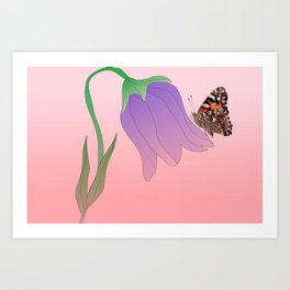 Tulip with butterfly Art Print