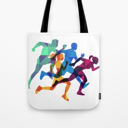 Colored silhouettes runners Tote Bag