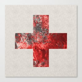 Medic - Abstract Medical Cross In Red And Black Canvas Print