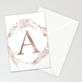 Letter A Rose Gold Pink Initial Monogram Stationery Cards