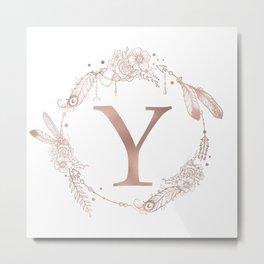 Letter Y Rose Gold Pink Initial Monogram Metal Print